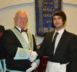 WM Keith Batemen welcomes Bro Joshua Ashworth to Masonry
